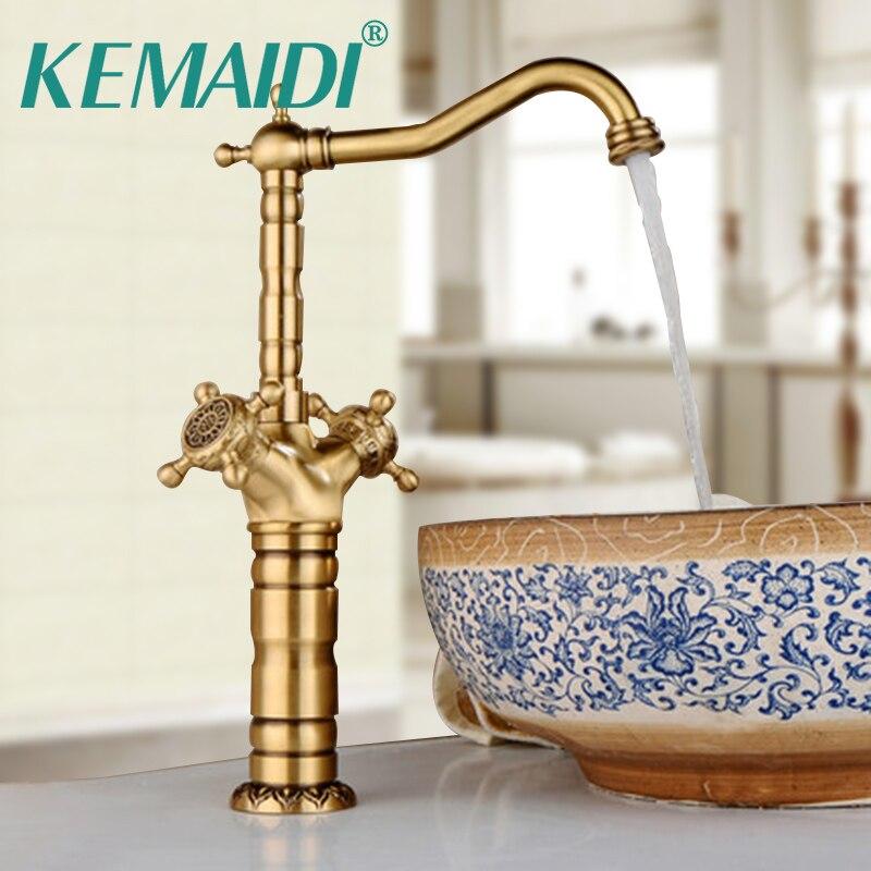 KEMAIDI Antique Brass Bathroom Faucet Ceramic Waterfall Short&Long Brass Basin Faucet Lavatory Combine Set Faucet Mixer Tap kemaidi 3 pcs antique brass