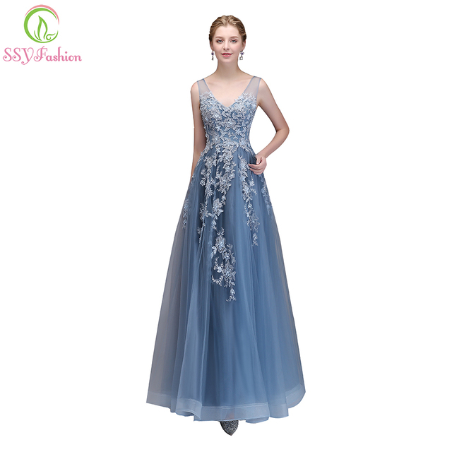 SSYFashion New The Banquet Elegant Lace Evening Dress V-neck Grey Blue  Appliques Beading Long 9125d7d1f0b2