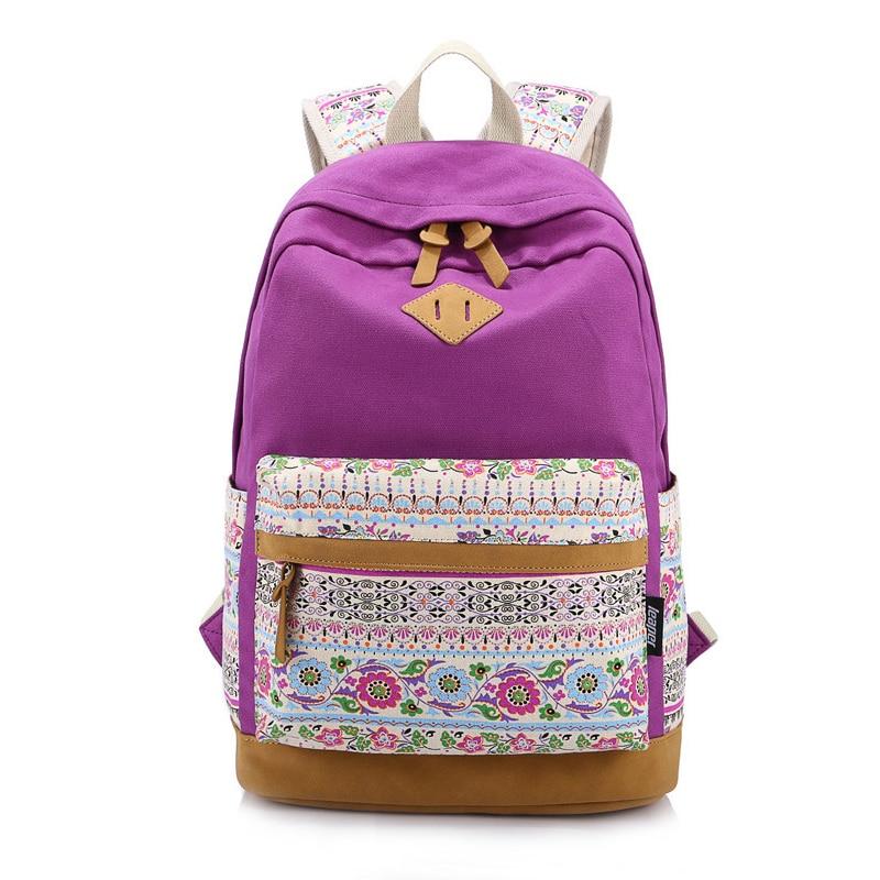 VSEN Floral Canvas Bag Backpack School for Teenager Girl Laptop Bag Printing Backpack Women Backpack Purple