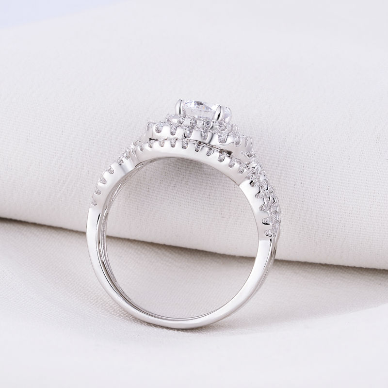 2Pcs Infinity Halo Women Wedding Ring in 925 Sterling Silver