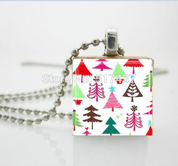 CR54-Christmas Ювелирные Изделия Mod Елки Эрудит Плитка стекло кабошон купол Кулон