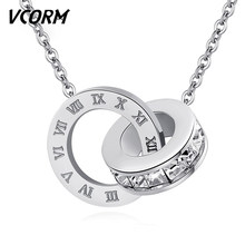 VCORM Fashion Cute Crystal Roman Numeral Silver Necklace For Women Charm Bohemian Rhinestone Zircon Gold Necklace Jewelry Gift(China)
