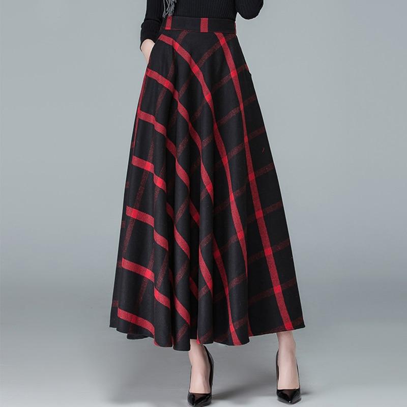 9622d97640 Falda Gran Plaid Solid black Lana Faldas dark Otoño T194 Swing Mujeres  Black Cintura grey Señoras Larga ...