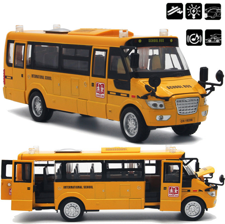 1:32 Scale Big Size America School Bus Diecast Metal Car With Pull Back Flashing Model Cars Boy Toys Collection Free Shipping