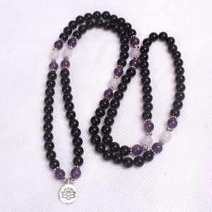Подвеска Амулет браслет и ожерелье из черного оникса и фиолетового кристалла с Буддой 108 mala браслет для йоги
