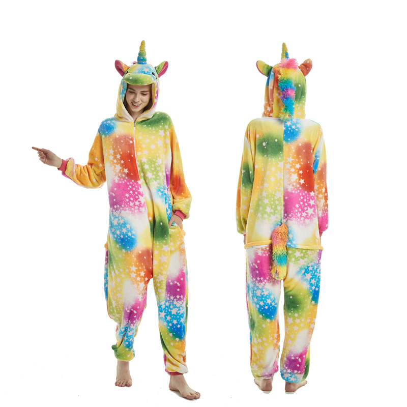 2019 Winter Adults Animal Kigurumi Pajamas Sets Cartoon Sleepwear Women Pajamas Unicorn Stitch Unicornio Warm Flannel Hooded(China)