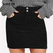 c4a6c7ea452d6 SHEIN Black Office Lady Pocket Solid Button Front Bodycon Elegant Skirt  Autumn Preppy Mid Waist Women Short Skirts