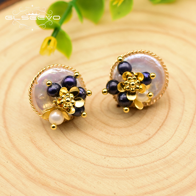 GLSEEVO 925 Sterling Silver Natural Baroque Flat Pearl Stud Earrings For Women Wedding Flower Earrings Fine Jewelry GE0650