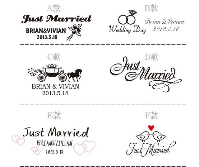 2015 new arrival wedding car stickers personalized letters for wedding carwedding favors supplies