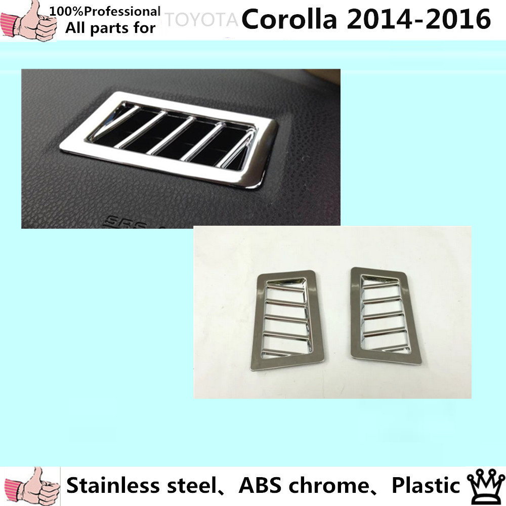 Car head front cover frame lamp trim abs chrome front air conditioning outlet vent 2pcs for