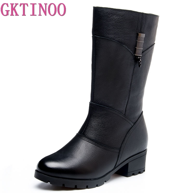 GKTINOO Winter Fur Womens Boots Warm Genuine Leather Snow Boots Female Rubber Soles Mid-Calf Fashion High Heels Shoes WomanGKTINOO Winter Fur Womens Boots Warm Genuine Leather Snow Boots Female Rubber Soles Mid-Calf Fashion High Heels Shoes Woman