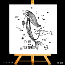 AZSG Funny Shark Mermaid Clear Stamps For DIY Scrapbooking/Card Making/Album Decorative Silicone Stamp Crafts