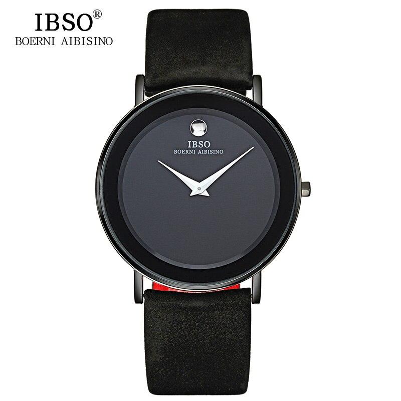 IBSO 7mm Ultra reloj hombres relojes de cuarzo relojes 2018 correa de cuero genuino relojes de hombre Top marca de lujo Relogio Masculino