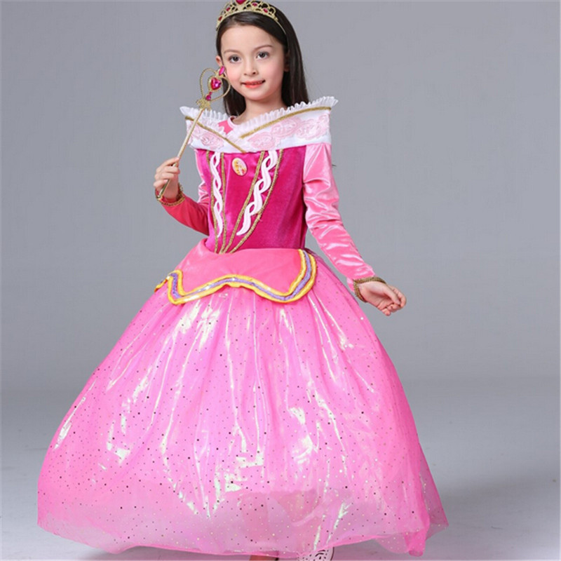 Hot Children New Sleeping Beauty Aurora Princess Dress Kids Baby Girls Princess Dress Elsa Anna Party Performance Aurora Dress