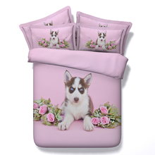 3D Dog print Bedding set Pink Rose quilt duvet cover bed sheet spread bedspread linen California King Queen size full twin 4PCS