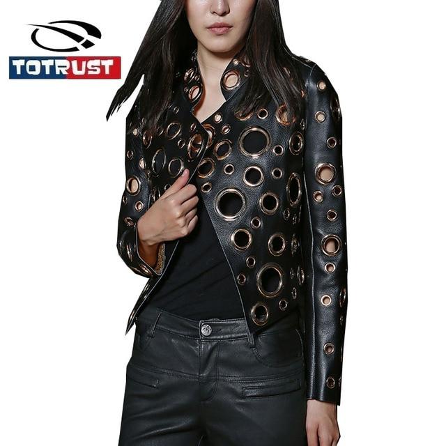 Totrust Black Rivet Leather Jacket Women 2017 Gold Pu Coat Women