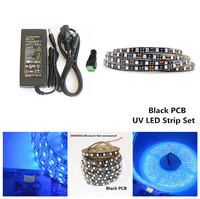 5m DC12V SMD5050 UV Led Strip Set IP65/Non Waterproof White Black PCB Ultraviolet Ray Diode Ribbon tape lamp+5A Power Adapter