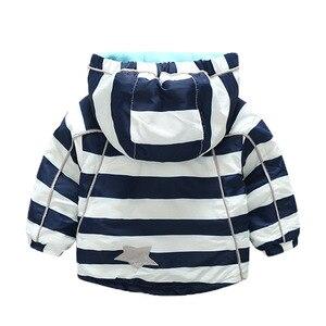 Image 5 - Куртка для мальчиков и девочек KISBINI, утепленная флисовая ветровка в радужную полоску, с капюшоном, на осень и зиму, для девочек, в наличии размеры от 2 до 8 лет