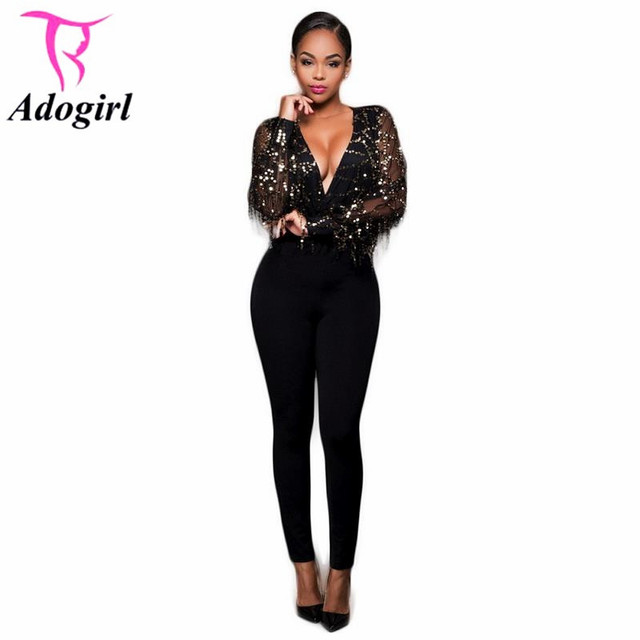 76bccb20ff6e Sexy Deep V-neck Jumpsuit Women Solid Black Sequined Beading Mesh See  Through Trend Skinny Jumpsuit Nightclub Bodycon Jumpsuit