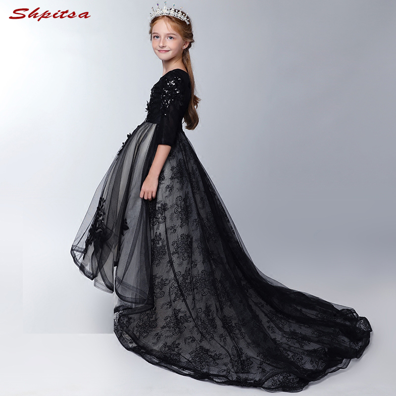 Long Sleeve Lace   Flower     Girl     Dresses     Girls   Evening   Dress   Mesh Gowns Floor Length Robes