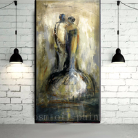 Hand Painted Abstract Gray Style Couple Portrait in Love Oil Painting Handmade Wedding Wall Artwork Decorative Canvas Pictures