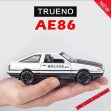 1:28 장난감 자동차 초기 D AE86 금속 장난감 합금 자동차 다이 캐스트 및 장난감 차량 자동차 모델 미니어처 스케일 모델 자동차 완구 어린이를위한