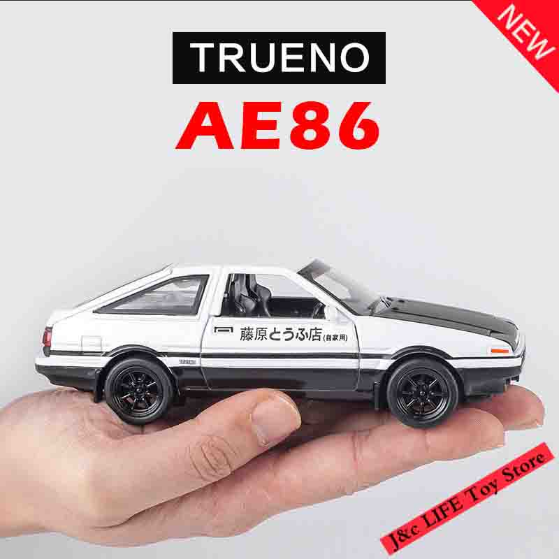 1:28 Toy Car INITIAL D AE86 Metal Alloy Car Diecasts & Toy Vehicles Model Miniature Scale Model Electric Car Toys For Children bburago 360 challengr 1 24 alloy car model toys diecasts