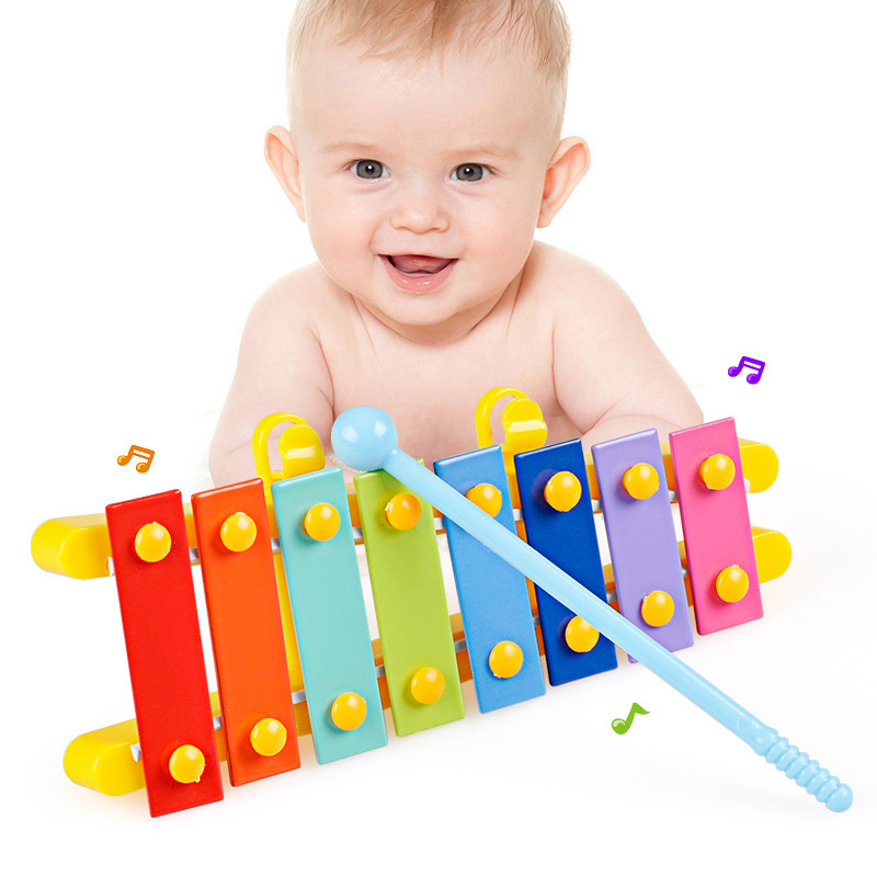Kids Baby 8 Key Guitar Shape Xylophone For Toddlers Baby Noise Maker Music Instrument Toys With Malle Hot