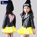 2016 new autumn children leather coat girls quality PU leather jacket stamp zipper jacket black color