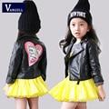 2016 new autumn children leather coat girls quality PU leather jacket stamp zipper jacket black color