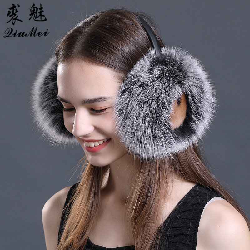 Brand Fashion Rex Rabbit Fur Fox Women Earmuffs For Winter Ear Muffs Comfortable Warm Ear Cover Ear Warmers For Girls Adjustable