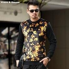 Golden leaves printing fashion casual high-end long sleeve t shirt Autumn&Winter 2017 New gold velvet quality t shirt men M-XXXL
