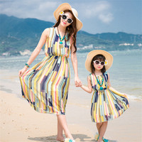 New Summer Family Matching Outfits Mother And Daughter Colorful Striped Dresses Mom Daughter Chiffon Beach Dress