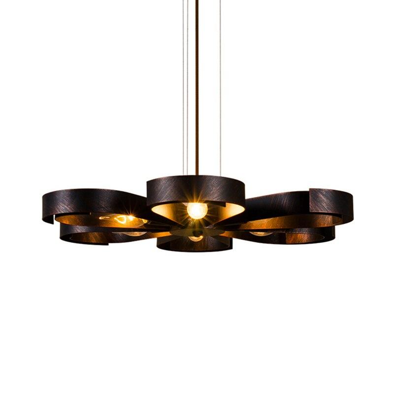 Vintage loft America Pendant light Toolery E27 LED lamp Fan brass rust color droplight Living room shop Cafe Bar free shipping