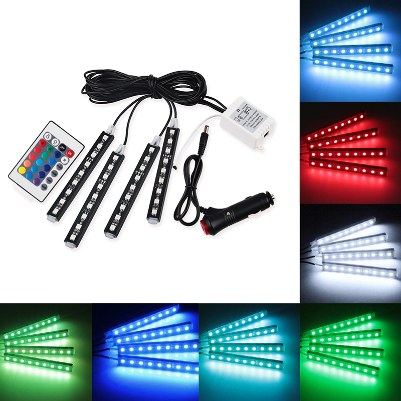 4pcs Car RGB LED Strip Light LED Strip Lights 16 Colors Car Styling Decorative Atmosphere Lamps Car Interior Light With Remote sales of new sensor light strip with high quality and convenient multi functional 3w 6w outdoor home decor led strip light lamps