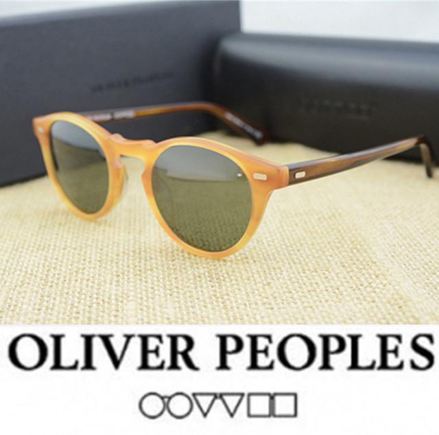 Calidad original del envío libre retro vintage gafas de sol de Marca Pueblos Oliver Gregory Peck OV5186 steampunk gafas de sol Mujeres de Los Hombres