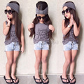 3 pcs Summer Toddler Girl Clothing Set T-Shirt + Denim Shorts +Headband Cute Little Girls Clothes Cotton Children Kids Suits