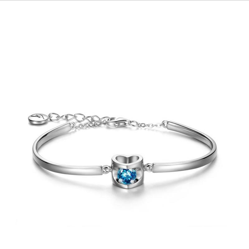 Everoyal Charm 925 Sterling Silver Bracelets For Women Jewelry Trendy Zircon Heart Bracelets Silver Girls Accessories Hot in Charm Bracelets from Jewelry Accessories
