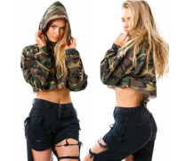 Fashion Autumn 2017 Women Short T Shirts Long Sleeve Hooded Camouflage Printing Casual Tee Shirts Tops