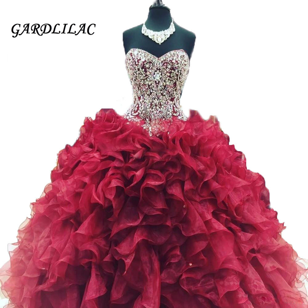 New Cheap Crystal Beads Burgundy Quinceanera Dresses 2019 Masquerade Ball Gowns Ruffles Sweet 16 Dress Vestidos