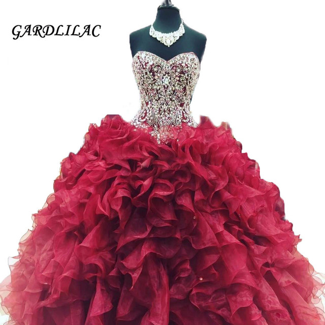 29f0671c1 New Cheap Crystal Beads Burgundy Quinceanera Dresses 2019 Masquerade Ball Gowns  Ruffles Sweet 16 Dress Vestidos De 15 Anos
