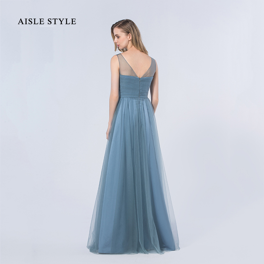 Aisle style popualr dusty blue bridesmaid dresses 2017 long rustic aisle style popualr dusty blue bridesmaid dresses 2017 long rustic wedding illusion neck bridesmaid dress for modern women in bridesmaid dresses from ombrellifo Gallery