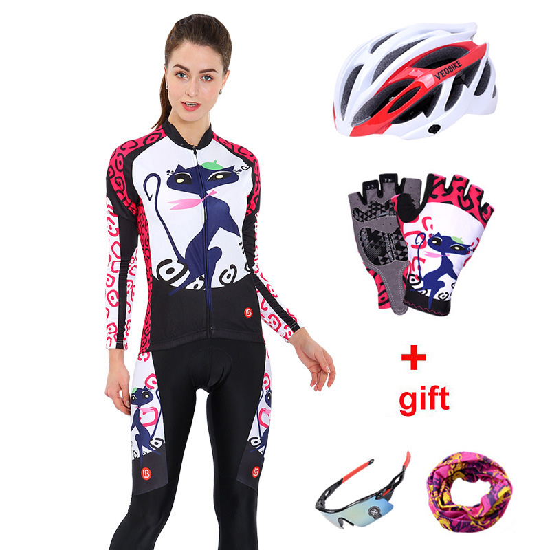 Women Cycling Jersey Long Set Bicycle Clothes Mtb Bike Wear Cycling Clothing Ladies Quick Dry Pro Cycle Skinsuit Dress Sport Kit otwzls cycling jersey 2018 set mountain bike clothing quick dry racing mtb bicycle clothes uniform cycling clothing bike kit