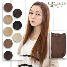Clip-In Hair-Extensions Straight Neitsi Heat-Resistant Synthetic 3pcs/Set 75g 14''