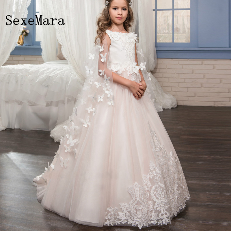 Romantic Beading Flower Girl Dress 2018 A Line O-Neck for Weddings Girl Zipper Back Party Communion Dress Pageant Gown v neck zip back dress