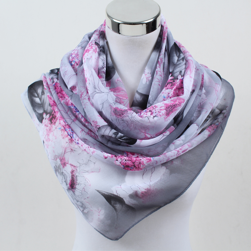 new fashion gradient flowers scarf women silk chiffon shawl thin long soft shawls and printing polyester scarves wholesale FZ052