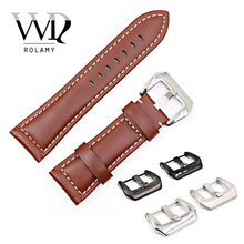 Rolamy 22 24 26mm Brown Smooth Real Leather Handmade Thick Replacement Wrist Watch Band Strap Belt With Pre-V Screw Buckle