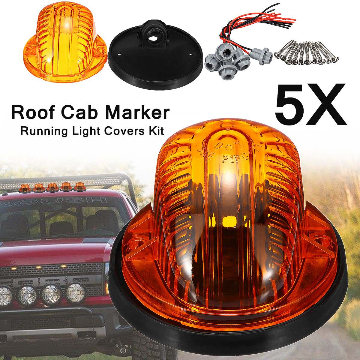 5PCS Smoke Roof Cab Marker Running Light Covers Kit For SUV Fordd-Pickup Trucks ABS Direct replacement 93x58mm with Soft Pads
