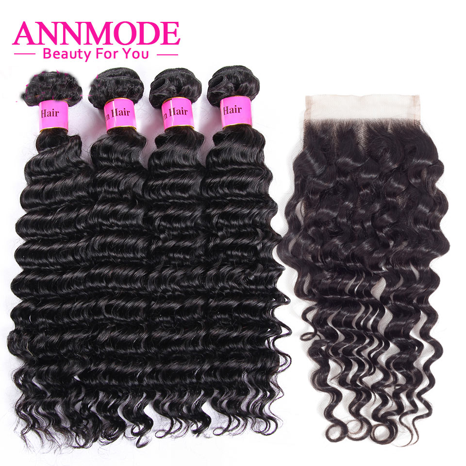 Annmode Malaysian Deep Wave Bundles With Closure 5pcs/lot Lace Closure Hair Extensions Non Remy Human Hair Bundles With Closure
