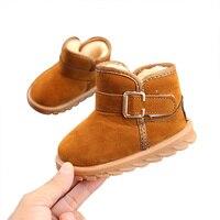 Crianças Da Criança Do Bebê Sapatos de Inverno Criança Quente Botas de Neve Pelúcia Sapatos Meninos Meninas Botas de Neve Sapatos Único Grossa 1 6Y|Botas| |  -